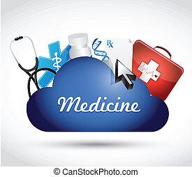 medicine cloud icons illustration design
