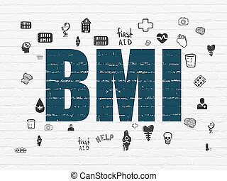Medicine concept: BMI on wall background