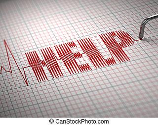 Medicine concept. ECG Cardiogram with text help. 3d