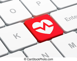 Medicine concept: Heart on computer keyboard background