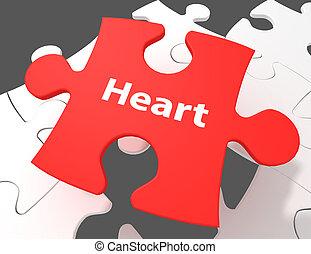 Medicine concept: Heart on White puzzle pieces background, 3d render