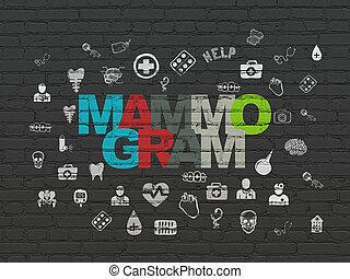 Medicine concept: Mammogram on wall background - Medicine...