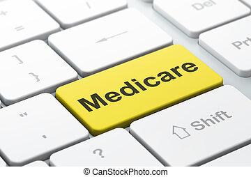 Medicine concept: Medicare on computer keyboard background -...