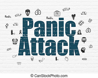Medicine concept: Panic Attack on wall background