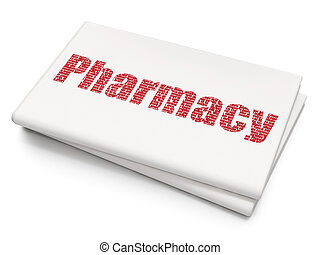 Medicine concept: Pharmacy on Blank Newspaper background