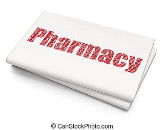 Medicine concept: Pharmacy on Blank Newspaper background