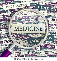 MEDICINE. Concept related words in tag cloud. Conceptual...