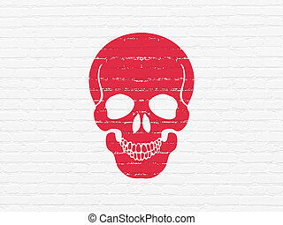 Medicine concept: Scull on wall background