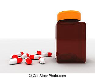 Medicine concept. Spilled pills from prescription bottle. 3d rendered illustration