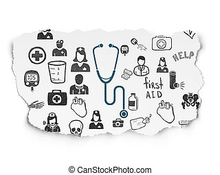 Medicine concept: Stethoscope on Torn Paper background