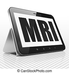 Medicine concept: Tablet Computer with MRI on display