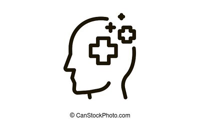 Medicine Crosses Man Silhouette Headache animated black icon on white background