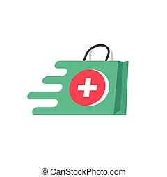 Medicine delivery vector logo concept, idea of fast emergency help service, flat pharmacy or medical bag symbol moving fast, first aid shipping logotype isolated on white