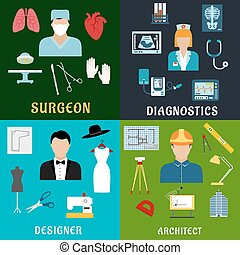 Medicine, design and construction professions icons