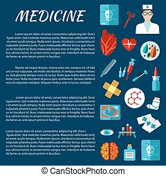 Medicine design template with first aid symbols