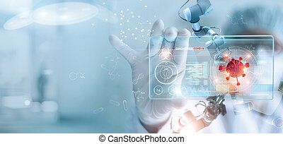 Medicine doctor and robotics research and analysis. Diagnose...