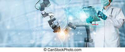 Medicine doctor and robotics research and analysis, Diagnose...