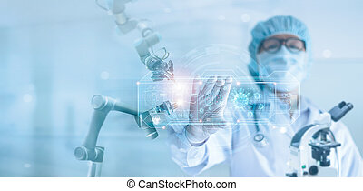 Medicine doctor and robotics research and analysis, ...