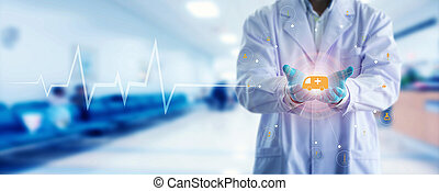 Medicine doctor and stethoscope in hand touching icon medical network connection with modern virtual screen interface.