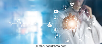 Medicine doctor and stethoscope in hand touching icon ...