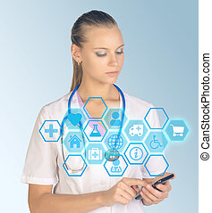 Medicine doctor hand holding phone with modern computer interface as concept