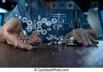 Medicine doctor hand working with modern computer interface as medical network concept