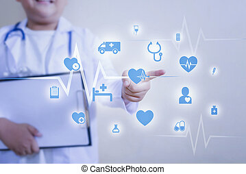 Medicine doctor hand working with touching icon medical network connection with modern virtual screen interface.
