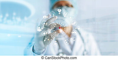 Medicine doctor holding a color capsule pill in hand with icon medical network connection on modern virtual screen interface in laboratory background, medical technology network concept