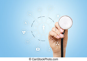 Medicine doctor with modern computer, virtual screen interface and icon medical network connection. health care concept.