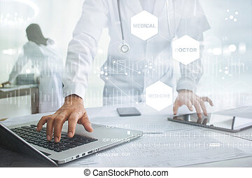 Medicine doctor with stethoscope touching icon medical network connection on laptop and tablet with modern virtual screen interface, medical technology network concept