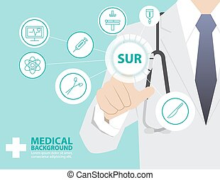 Medicine doctor  working with modern virtual technology, hand touching interface as medical concept,SURGICAL,SUR