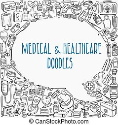 medicine doodle background - Health care and medicine doodle...