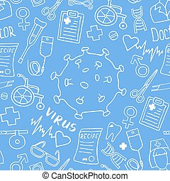 Medicine doodle seamless pattern. Vector eps illustrations.