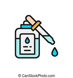 Medicine, drops for sight flat color line icon. - Vector ...