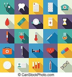 Medicine equipment icons set, flat style