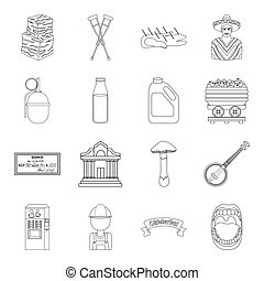 medicine, finance, art and other web icon in outline style.coffee, organs, education icons in set collection.