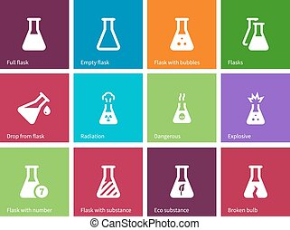 Medicine flask icons on color background.