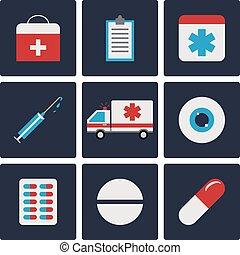 Medicine Flat Icons Set. Ambulance, Pill, Eye, Tablet, Syringe. Vector illustration for Your Design, Web.