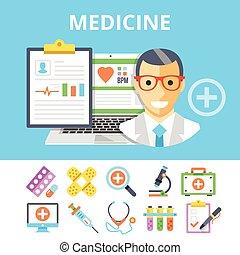 Medicine flat illustration, icons