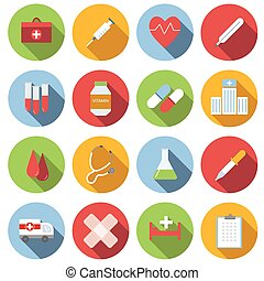 Medicine flat round icon set
