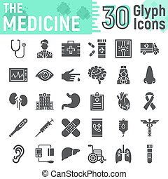 Medicine glyph icon set, hospital symbols collection, vector sketches, logo illustrations, anatomy signs solid pictograms package isolated on white background, eps 10.