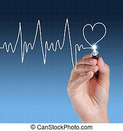 Medicine, Hand drawing on virtual screen