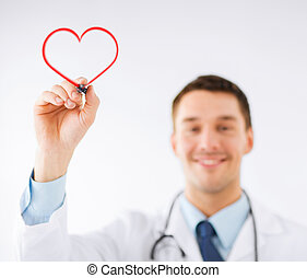male doctor drawing heart in the air - medicine, health and...