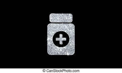 Medicine Health Care Icon Shining Glitter Loop Blinking Particles .