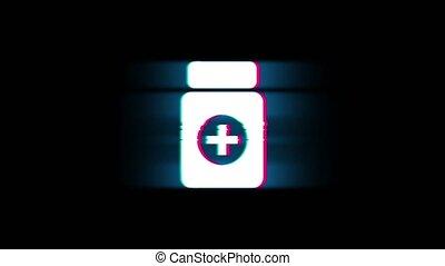 Medicine Health Care Symbol on Glitch Retro Vintage Animation.