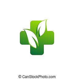 medicine health logo, natural medical plus symbol icon vector design
