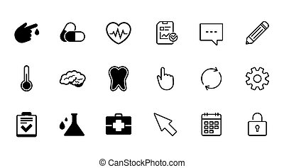 Medicine, healthcare and diagnosis icons. Tooth, pills and...