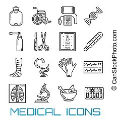 Medicine, healthcare and pharmacy thin line icons
