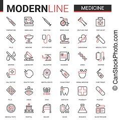 Medicine healthcare line icon vector illustration set, medical health care symbols for mobile apps with hospital research lab equipment, doctor treatment