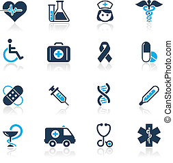 Medicine & Heath Care / Azure - Vector icons for your ...